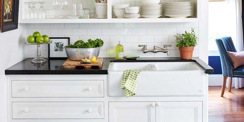 Room, White, Flowerpot, Interior design, Interior design, Countertop, Ceramic, Tap, Plumbing fixture, Grey,