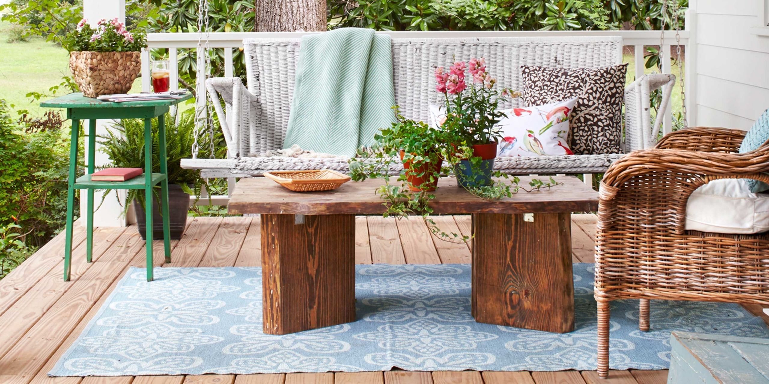 60 best patio designs for 2018 ideas for front porch and patio rh countryliving com outdoor patio furniture decorating ideas outdoor table top decorating ideas
