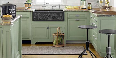 Room, Floor, Cabinetry, Drawer, Countertop, Tap, Grey, Kitchen, Interior design, Home,