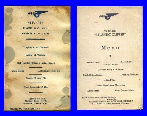 Pan Am Dining Menus
