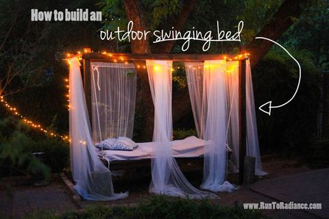 Night, Mosquito net, Light, Midnight, Yard, Backyard, Decoration,