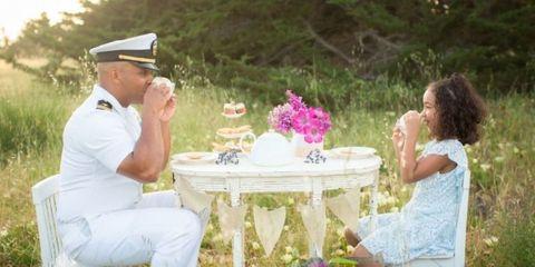 Cap, Petal, Sitting, Table, Outdoor table, Outdoor furniture, Peaked cap, Cut flowers, Lavender, Linens,