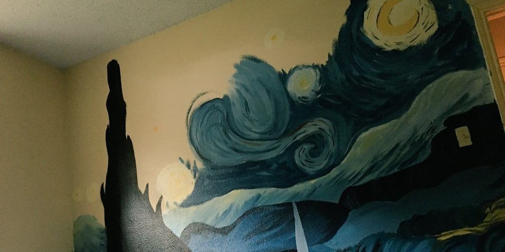 12 year old girl paints starry night on brother 39 s wall for Painting and decorating advertising ideas