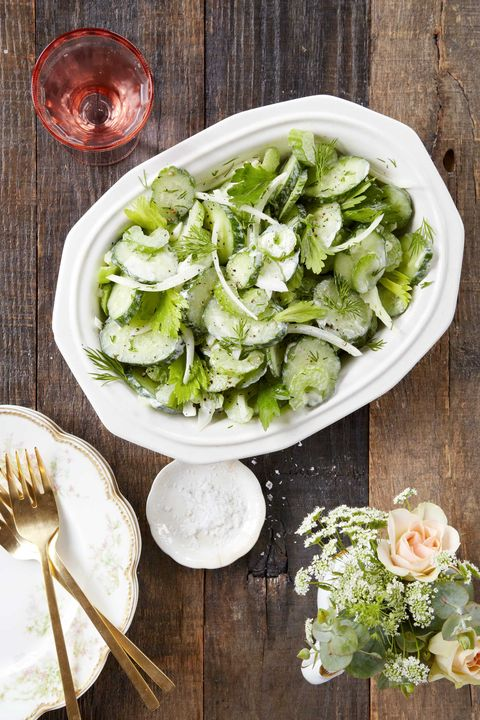 Cucumber, Celery, & Sweet Onion Salad with Sour Cream Dressing Recipe
