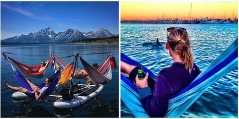 Water, Goggles, Mountain range, Watercraft, Tourism, Travel, Lake, Reflection, Inflatable boat, Boat,