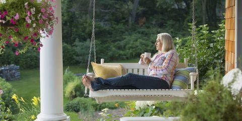 Plant, Outdoor furniture, Garden, Comfort, Shrub, Petal, Outdoor table, Backyard, Spring, Yard,