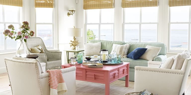 whether you live by the beach or just dream about ocean breezes enhance the natural beauty of your home with crisp white splashes of bold color - Beach House Interior Design Ideas