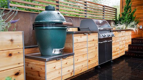 Roof, Room, Barbecue, Wood, Kitchen, Brick, Kitchen appliance, Hardwood, Home, Countertop,