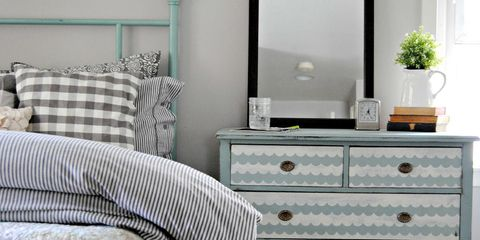 Room, Interior design, Textile, Chest of drawers, Furniture, Wall, Drawer, Linens, Cabinetry, Teal,