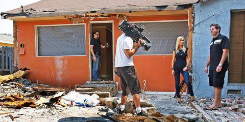 Human body, Video camera, Camera, Television crew, Cameras & optics, Videographer, Camera operator, Film camera, Camera accessory, Luggage and bags,