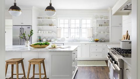 Green, Room, White, Interior design, Kitchen, Light fixture, Kitchen appliance, Cabinetry, Home, House,