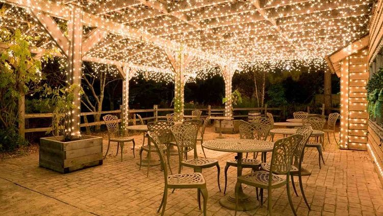20 backyard lighting ideas how to hang outdoor string lights courtesy of 25 main street solutioingenieria Gallery