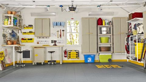Yellow, Ceiling, Floor, Interior design, Shelving, Machine, Light fixture, Electricity, Gas, Electrical supply,
