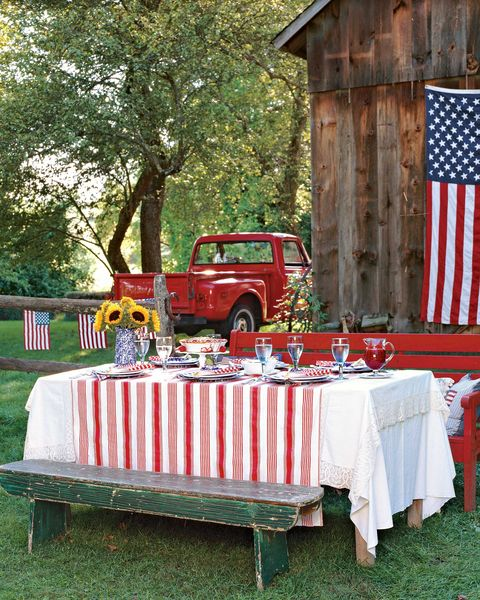 Tablecloth, Textile, Flag, Table, Linens, Outdoor table, Outdoor furniture, Home accessories, Chair, Flag of the united states,