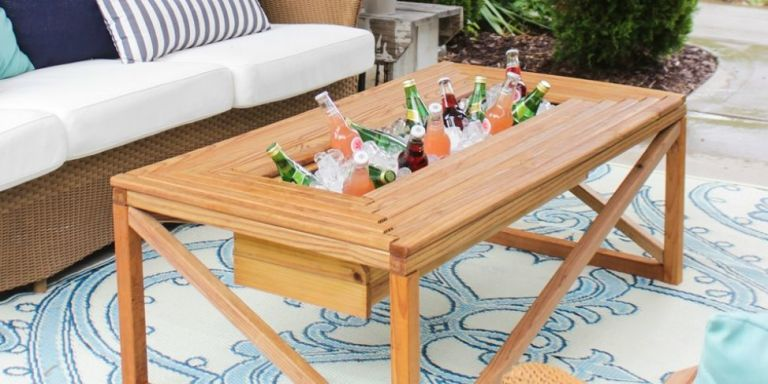 DIY Outdoor Coffee Table U2014 How To Make An Outdoor Coffee Table With  Beverage Cooler