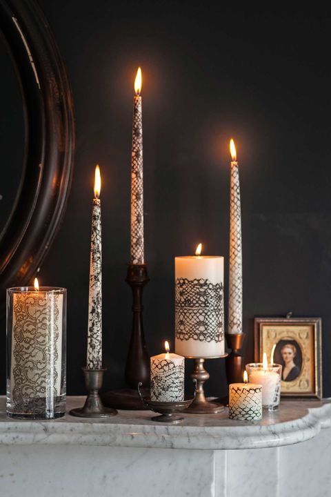 halloween craft lace wrapped candles