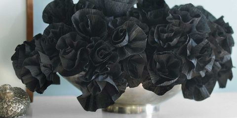 How to make crepe paper flowers diy crepe flower craft this shadowy floral arrangement is made from inexpensive crepe paper streamers and is perfect for halloween for the rest of the year make them with pretty mightylinksfo