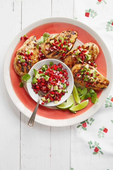 chicken with avocado cherry salsa
