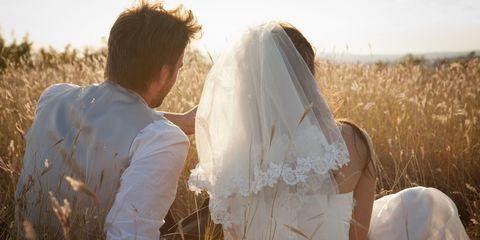 Bridal clothing, Dress, Bridal veil, Photograph, Bride, Happy, People in nature, Veil, Wedding dress, Summer,
