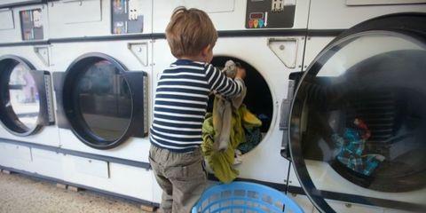 Clothes dryer, Laundry, Washing machine, Major appliance, Home appliance, Washing, Child, Laundry room, Toddler,