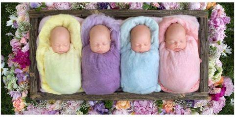 Cheek, Purple, Pink, Lavender, Violet, Petal, Baby & toddler clothing, Peach, Doll,