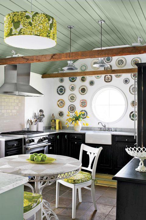 Room, Green, Interior design, Ceiling, Interior design, Light fixture, Grey, Home accessories, Kitchen, Home,