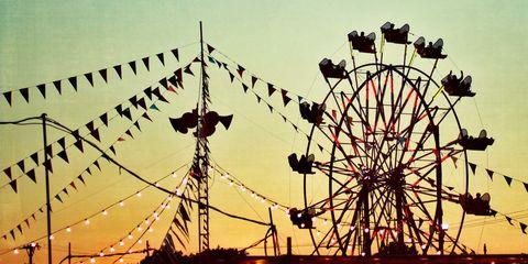 Nature, Daytime, Ferris wheel, Yellow, Event, Photograph, Line, Summer, Colorfulness, Sunlight,