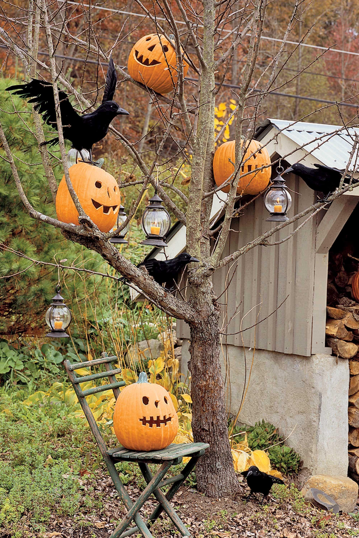 outdoor halloween decorations pumpkin trees