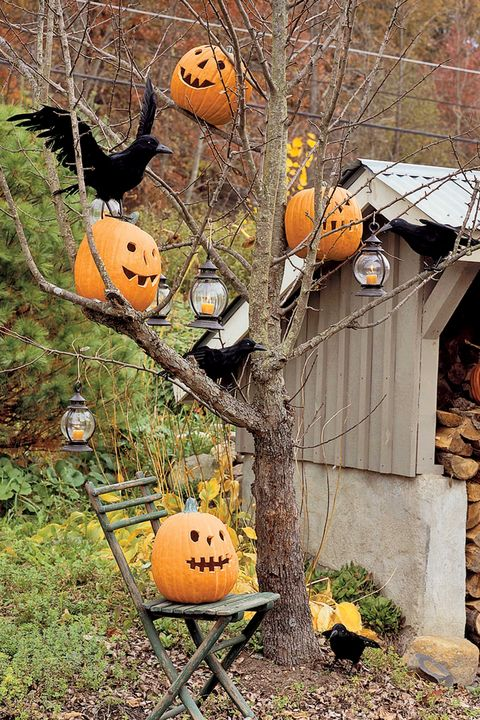 outdoor halloween decorations pumpkin trees