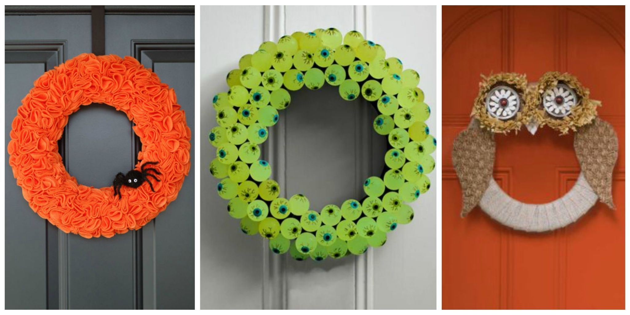 Delight Trick Or Treaters By Decorating Your Front Door With These  Easy To Make Wreaths.