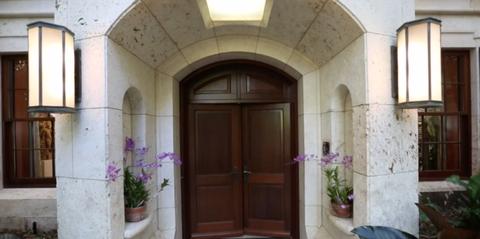 Lighting, Plant, Wood, Door, House, Flowerpot, Home door, Light fixture, Real estate, Ceiling,
