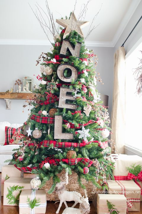 rustic noel marquee christmas tree decorating idea - Slim Christmas Tree Decorating Ideas