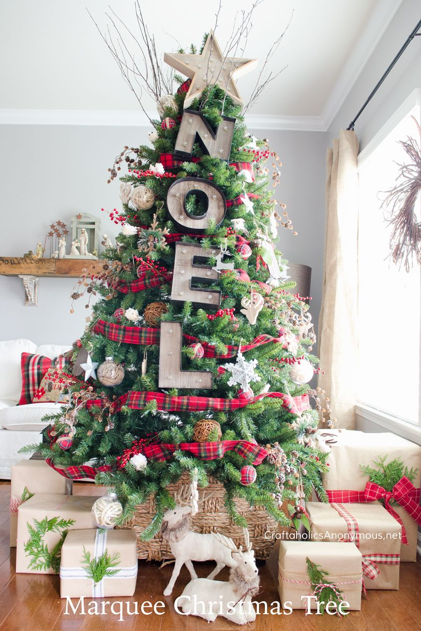 Marvelous Rustic Noel Marquee Christmas Tree Decorating Idea