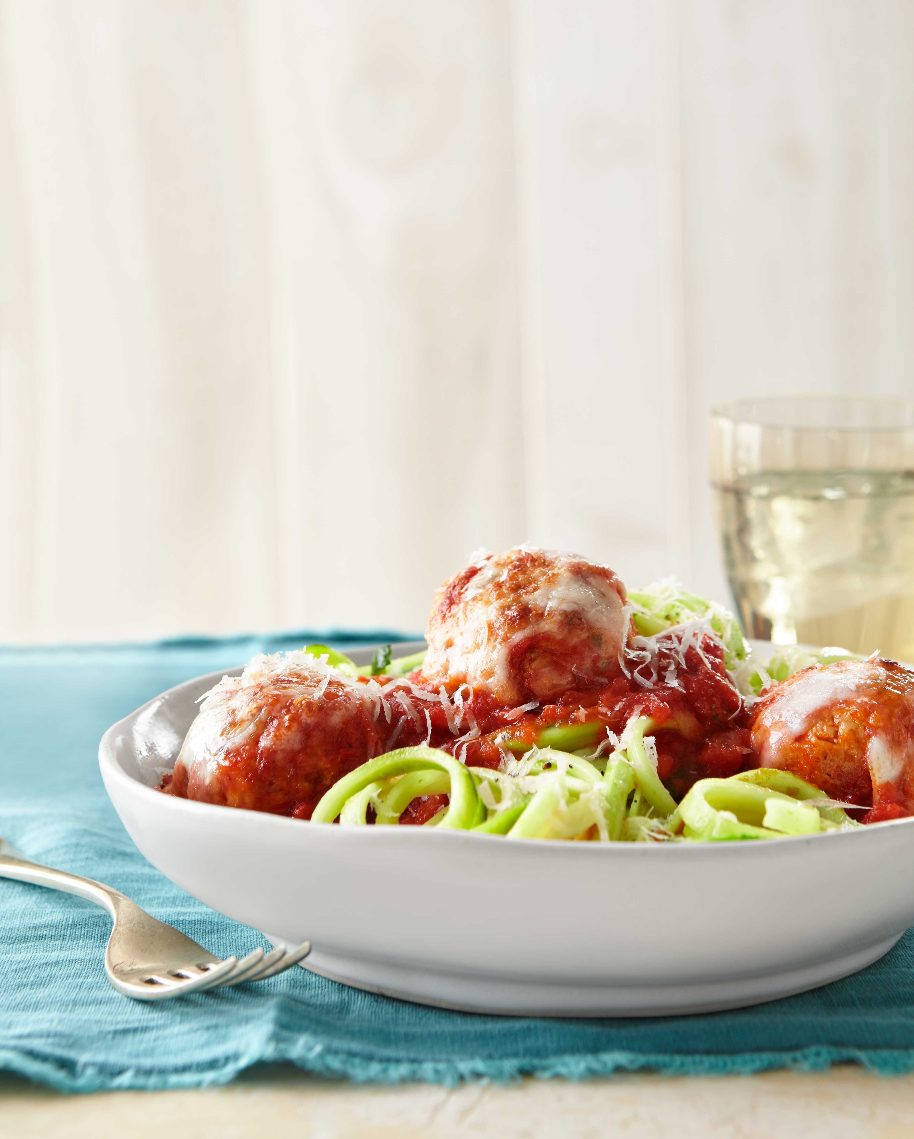 Best Turkey Meatballs Over Zucchini Noodles Recipe - CountryLiving.com