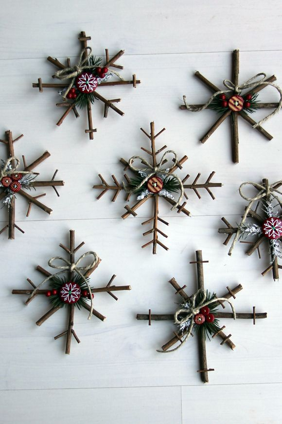 Rustic Snowflakes Homemade Christmas Tree Ornaments