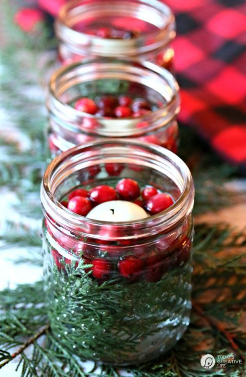 christmas table setting and centerpiece ideas mason jar luminaries - Christmas Table Decorations Centerpieces
