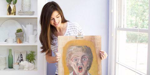 Hair, Head, Nose, Human, Eye, Paint, Iris, Eyelash, Shelf, Artist,