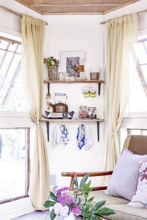 Interior design, Room, Textile, Home, Window covering, Interior design, Window treatment, Purple, House, Fixture,