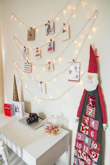 christmas fairy light wall card display