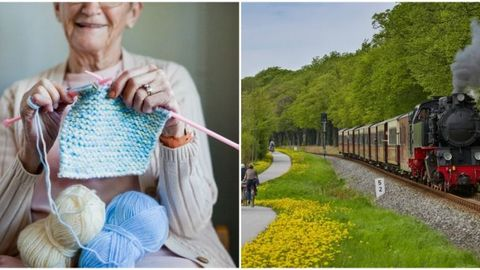 Knitting and Train Rides