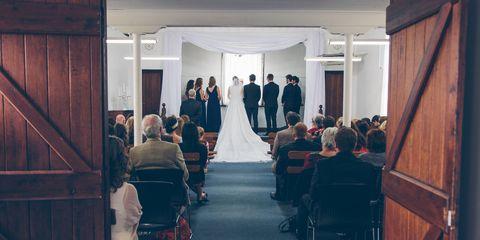 Bridal clothing, Dress, Bride, Gown, Wedding dress, Formal wear, Suit, Hardwood, Marriage, Bridal party dress,