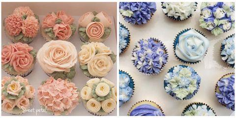 Blue, Petal, Sweetness, Dessert, Food, Flower, Pink, Cupcake, Peach, Cake,
