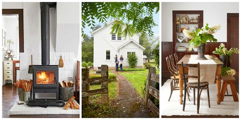 modern white farmhouse filled with antiques