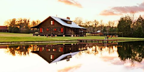 Reflection, House, Pond, Home, Rural area, Evening, Log cabin, Lake, Cottage, Farmhouse,
