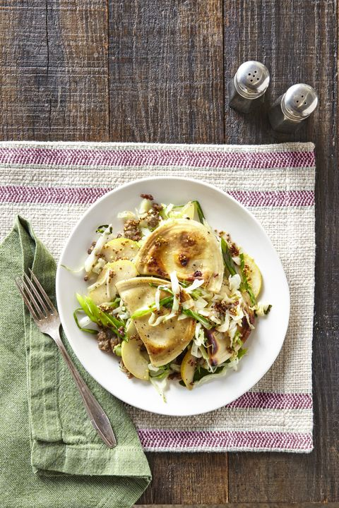 Pierogies with Sausage, Cabbage & Pear Recipe