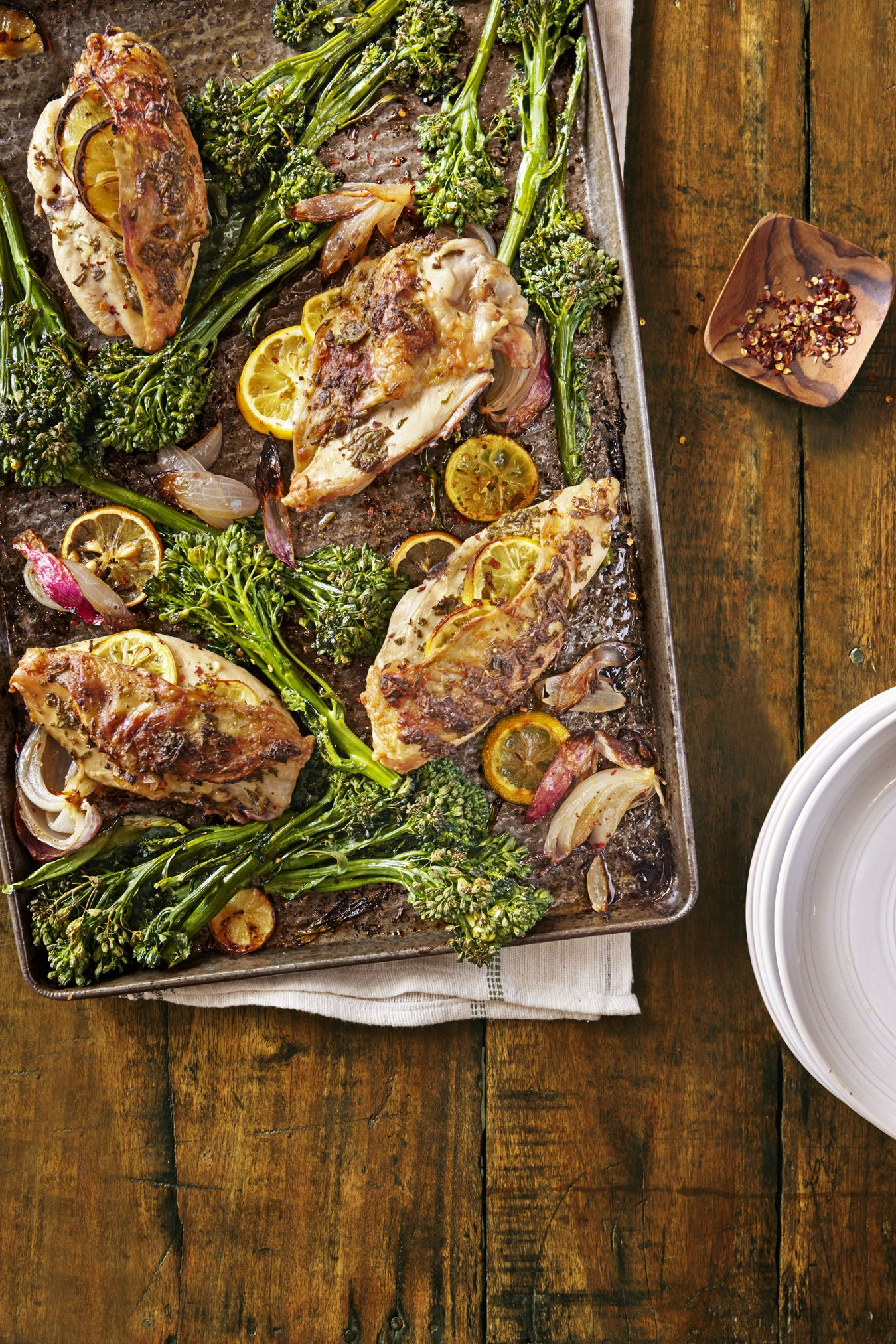 lemon rosemary chicken with roasted broccolini