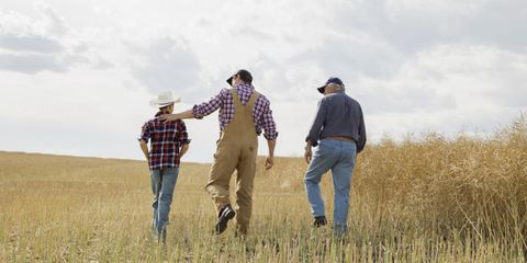 Human, Standing, Jeans, Hat, Plaid, People in nature, Dress shirt, Agriculture, Grassland, Denim,