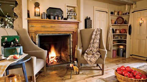 Wood, Room, Hearth, Interior design, Property, Floor, Home, Living room, Heat, Interior design,