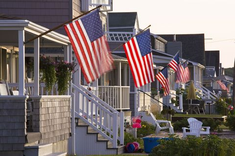 Flag, Flag of the united states, Real estate, Pole, Home, Porch, Flag Day (USA), Independence day, Balcony, Siding,