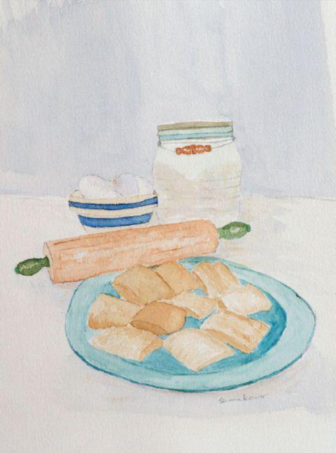 Serveware, Food, Dishware, Cuisine, Finger food, Artwork, Plate, Baked goods, Snack, Painting,